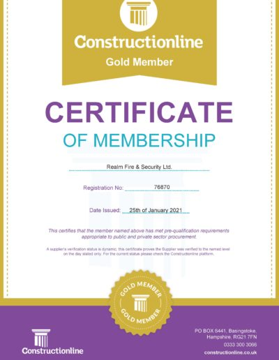 Constructionline Gold Membership Certificate