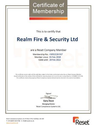 Reset Certificate